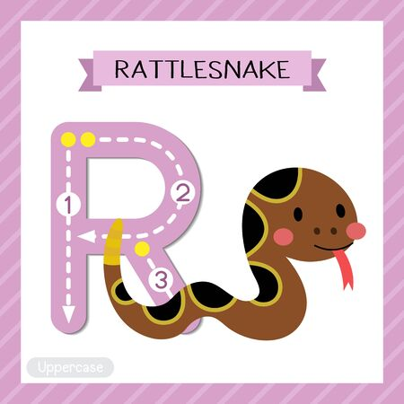 Letter R uppercase cute children colorful zoo and animals ABC alphabet tracing flashcard of Crawling Rattlesnake for kids learning English vocabulary and handwriting vector illustration.