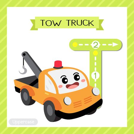 Letter T uppercase cute children colorful transportations ABC alphabet tracing flashcard of Tow Truck for kids learning English vocabulary and handwriting Vector Illustration. Banque d'images - 129948514