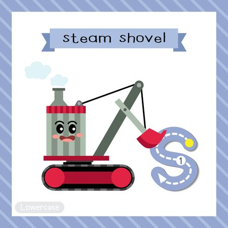 Letter S lowercase cute children colorful transportations ABC alphabet tracing flashcard of Steam Shovel for kids learning English vocabulary and handwriting Vector Illustration.