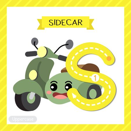 Letter S uppercase cute children colorful transportations ABC alphabet tracing flashcard of Sidecar for kids learning English vocabulary and handwriting Vector Illustration. Иллюстрация