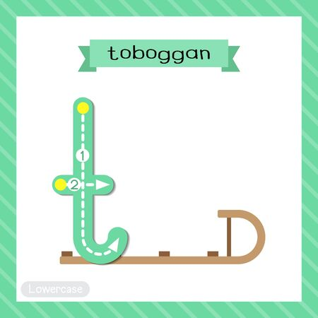 Letter T lowercase cute children colorful transportations ABC alphabet tracing flashcard of Toboggan for kids learning English vocabulary and handwriting Vector Illustration. Illustration
