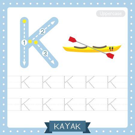 Lettre K majuscule enfants mignons transports colorés ABC alphabet traçage feuille de travail de Kayak pour les enfants apprenant le vocabulaire anglais et l'écriture manuscrite Illustration vectorielle.