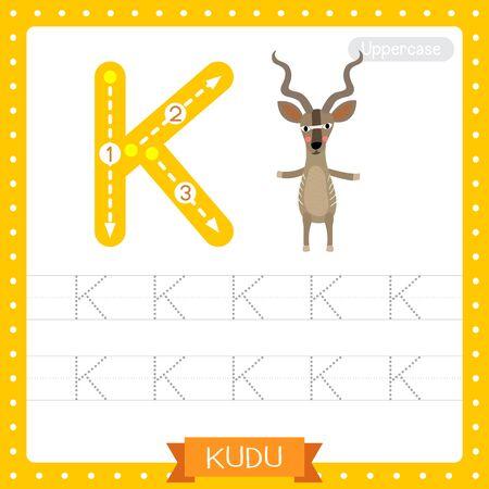 Lettre K majuscule enfants mignons zoo et animaux colorés ABC alphabet traçage feuille de travail de Kudu debout sur deux jambes pour les enfants qui apprennent le vocabulaire anglais et l'illustration vectorielle de l'écriture manuscrite. Vecteurs