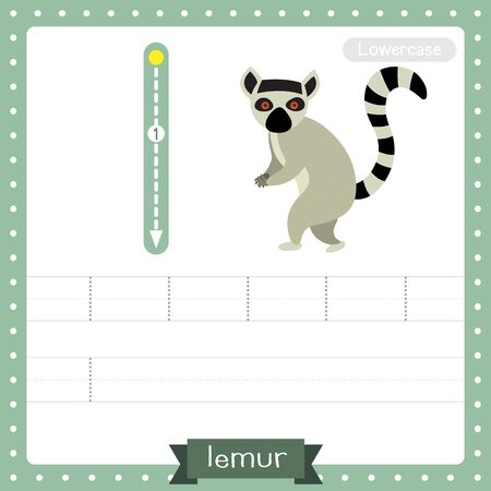 Letter L lowercase cute children colorful zoo and animals ABC alphabet tracing practice worksheet of Standing Lemur for kids learning English vocabulary and handwriting vector illustration. Illusztráció