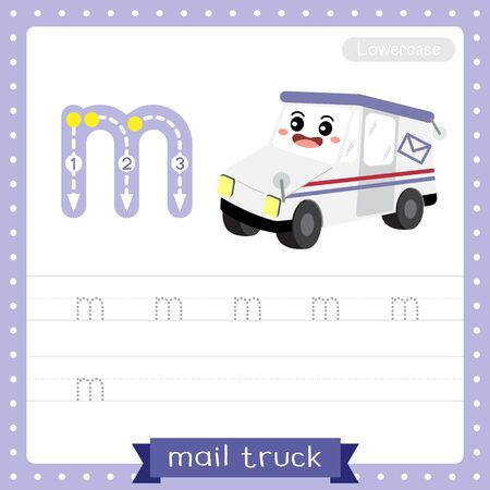 Letter M lowercase cute children colorful transportations ABC alphabet tracing practice worksheet of Mail Truck for kids learning English vocabulary and handwriting Vector Illustration. Illustration