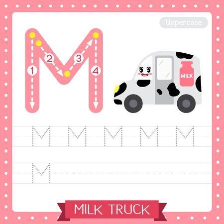 Lettre M majuscule enfants mignons transports colorés ABC alphabet traçage feuille de travail de Milk Truck pour les enfants apprenant le vocabulaire anglais et l'écriture manuscrite Illustration vectorielle.