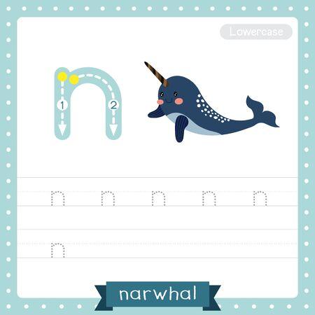 Lettre N minuscules enfants mignons zoo et animaux colorés ABC alphabet traçage feuille de travail de narval bleu foncé pour les enfants qui apprennent le vocabulaire anglais et l'illustration vectorielle de l'écriture manuscrite.