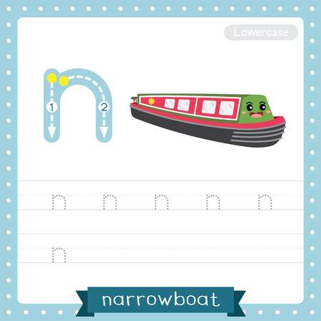 Lettre N minuscules enfants mignons transports colorés ABC alphabet traçage feuille de travail de Narrowboat pour les enfants apprenant le vocabulaire anglais et l'écriture manuscrite Illustration vectorielle.