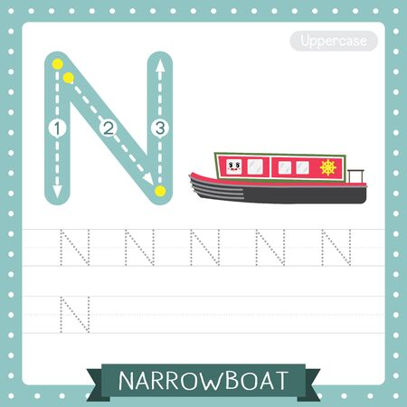 Letter N uppercase cute children colorful transportations ABC alphabet tracing practice worksheet of Narrowboat for kids learning English vocabulary and handwriting Vector Illustration. Illustration