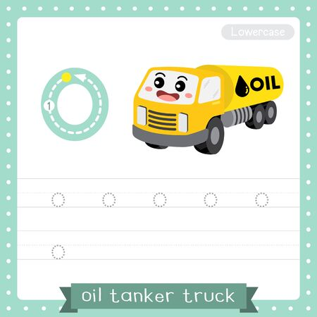 Letter O lowercase cute children colorful transportations ABC alphabet tracing practice worksheet of Oil Tanker Truck for kids learning English vocabulary and handwriting Vector Illustration.