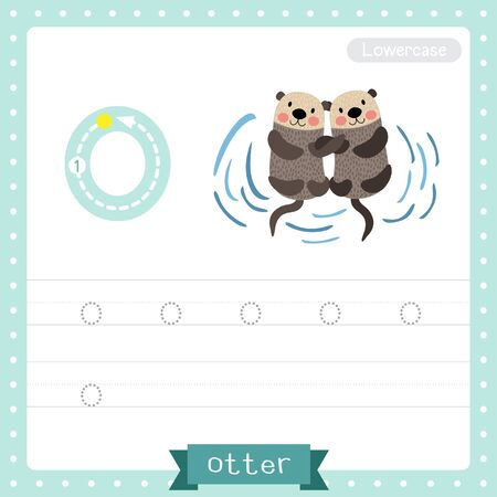 Letter O lowercase cute children colorful zoo and animals ABC alphabet tracing practice worksheet of Otter couple holding hands for kids learning English vocabulary and handwriting vector illustration. Foto de archivo - 129948600