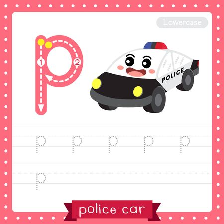Letter P lowercase cute children colorful transportations ABC alphabet tracing practice worksheet of Police Car for kids learning English vocabulary and handwriting Vector Illustration.