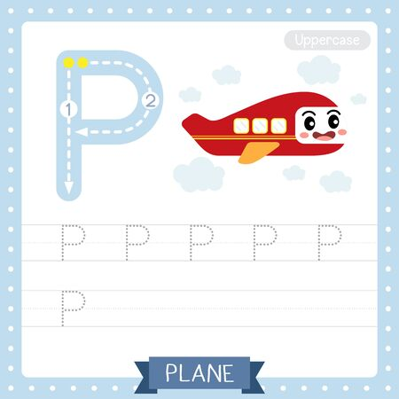 Letter P uppercase cute children colorful transportations ABC alphabet tracing practice worksheet of Plane for kids learning English vocabulary and handwriting Vector Illustration. Ilustração