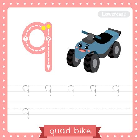 Letter Q lowercase cute children colorful transportations ABC alphabet tracing practice worksheet of Quad Bike for kids learning English vocabulary and handwriting Vector Illustration.