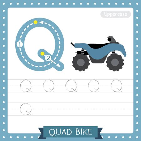 Letter Q uppercase cute children colorful transportations ABC alphabet tracing practice worksheet of Quad Bike for kids learning English vocabulary and handwriting Vector Illustration. Illustration