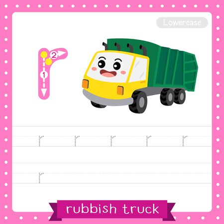 Letter R lowercase cute children colorful transportations ABC alphabet tracing practice worksheet of Rubbish Truck for kids learning English vocabulary and handwriting Vector Illustration. Illustration