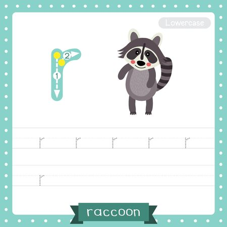 Letter R lowercase cute children colorful zoo and animals ABC alphabet tracing practice worksheet of Standing Raccoon for kids learning English vocabulary and handwriting vector illustration.