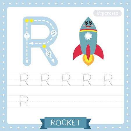 Letter R uppercase cute children colorful transportations ABC alphabet tracing practice worksheet of Rocket for kids learning English vocabulary and handwriting Vector Illustration.