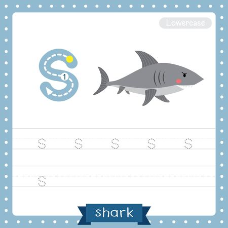 Letter S lowercase cute children colorful zoo and animals ABC alphabet tracing practice worksheet of Shark side view for kids learning English vocabulary and handwriting vector illustration. Foto de archivo - 129948599
