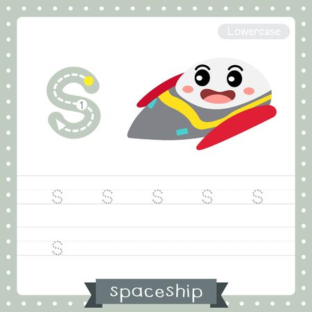 Letter S lowercase cute children colorful transportations ABC alphabet tracing practice worksheet of Spaceship for kids learning English vocabulary and handwriting Vector Illustration. Illustration