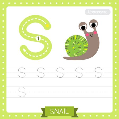 Letter S uppercase cute children colorful zoo and animals ABC alphabet tracing practice worksheet of Colorful Snail for kids learning English vocabulary and handwriting vector illustration.