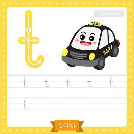 Letter T lowercase cute children colorful transportations ABC alphabet tracing practice worksheet of Taxi for kids learning English vocabulary and handwriting Vector Illustration.