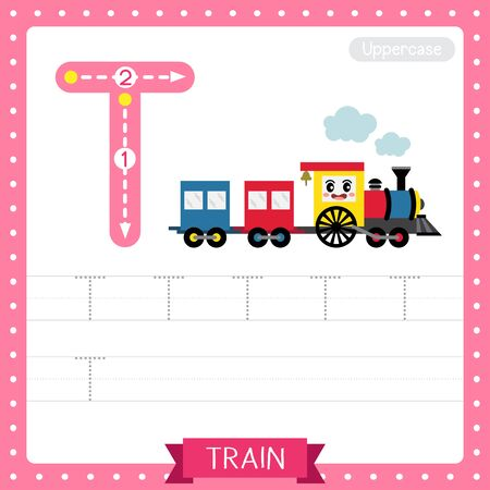 Letter T uppercase cute children colorful transportations ABC alphabet tracing practice worksheet of Train for kids learning English vocabulary and handwriting Vector Illustration. 일러스트