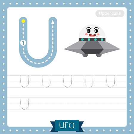 Letter U uppercase cute children colorful transportations ABC alphabet tracing practice worksheet of UFO for kids learning English vocabulary and handwriting Vector Illustration. Illusztráció
