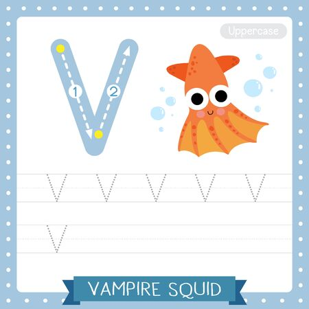 Letter V uppercase cute children colorful zoo and animals ABC alphabet tracing practice worksheet of Vampire Squid for kids learning English vocabulary and handwriting vector illustration.