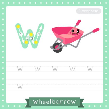 Letter W lowercase cute children colorful transportations ABC alphabet tracing practice worksheet of Wheelbarrow for kids learning English vocabulary and handwriting Vector Illustration.