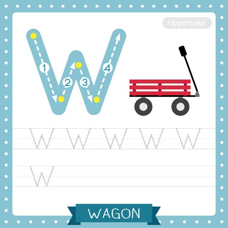 Letter W uppercase cute children colorful transportations ABC alphabet tracing practice worksheet of Wagon for kids learning English vocabulary and handwriting Vector Illustration.