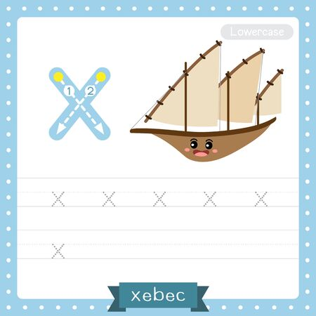 Letter X lowercase cute children colorful transportations ABC alphabet tracing practice worksheet of Xebec for kids learning English vocabulary and handwriting Vector Illustration. Illustration