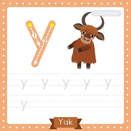 Letter Y lowercase cute children colorful zoo and animals ABC alphabet tracing practice worksheet of Yak standing on two legs for kids learning English vocabulary and handwriting vector illustration. Foto de archivo - 129948669
