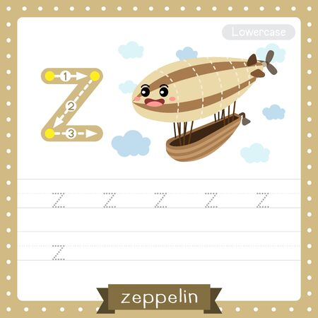 Letter Z lowercase cute children colorful transportations ABC alphabet tracing practice worksheet of Zeppelin for kids learning English vocabulary and handwriting Vector Illustration.