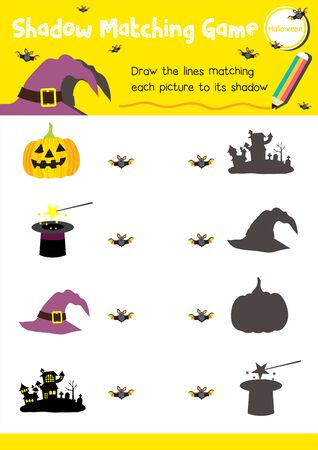Shadow matching game for preschool kids activity worksheet in Halloween Day theme colorful printable version layout in A4. Illusztráció