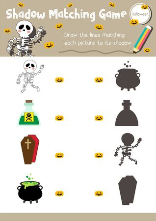 Shadow matching game for preschool kids activity worksheet in Halloween Day theme colorful printable version layout in A4. 向量圖像