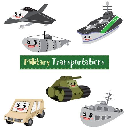 Military Transportations cartoon set on white background with vehicles name  vector illustration. Ilustrace