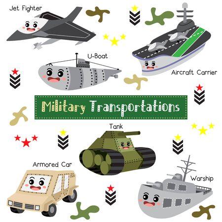Military Transportations cartoon set with vehicles name with vehicles name  vector illustration. Ilustrace