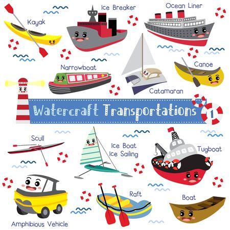 Watercraft Transportations cartoon set with vehicles name in perspective view vector illustration set 1. Illusztráció