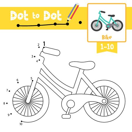 Dot to dot educational game and Coloring book of cute Bike cartoon character side view transportations for preschool kids activity about learning counting number 1-10 and handwriting practice worksheet. Vector Illustration. Ilustrace