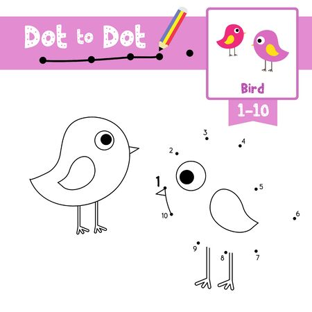 Dot to dot educational game and Coloring book of Standing Bird animals cartoon character for preschool kids activity about learning counting number 1-10 and handwriting practice worksheet. Vector Illustration.
