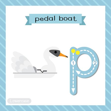 Letter P lowercase cute children colorful transportations ABC alphabet tracing flashcard of Pedal Boat for kids learning English vocabulary and handwriting Vector Illustration.