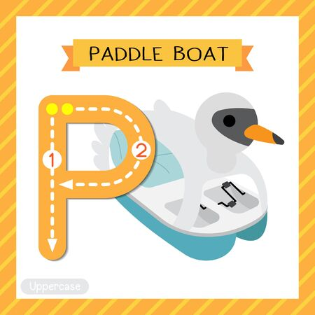 Letter P uppercase cute children colorful transportations ABC alphabet tracing flashcard of Paddle Boat for kids learning English vocabulary and handwriting Vector Illustration.