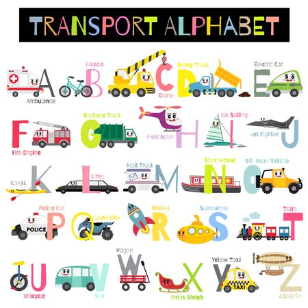 Cute colorful children transportations A-Z alphabet for kids learning English vocabulary with white background. Vector Illustration.