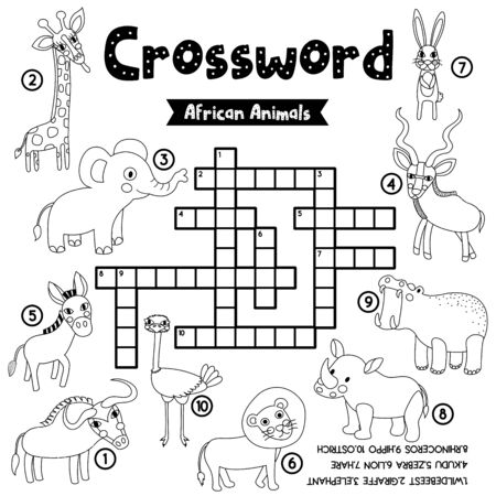 Crosswords puzzle game of african animals for preschool kids activity worksheet coloring printable version. Vector Illustration. Stock Illustratie