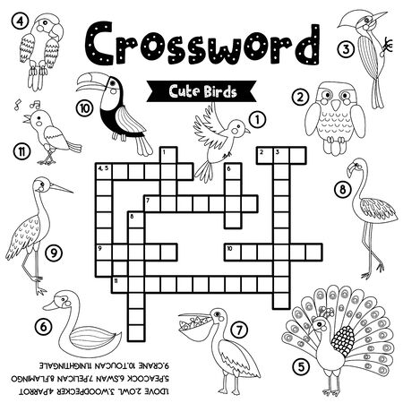 Crosswords puzzle game of cute birds animals for preschool kids activity worksheet coloring printable version. Vector Illustration.