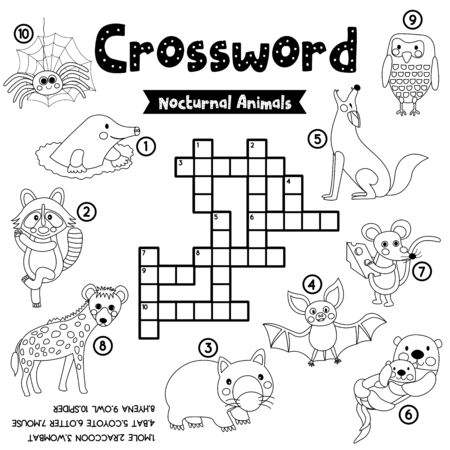 Crosswords puzzle game of nocturnal animals for preschool kids activity worksheet coloring printable version. Vector Illustration.