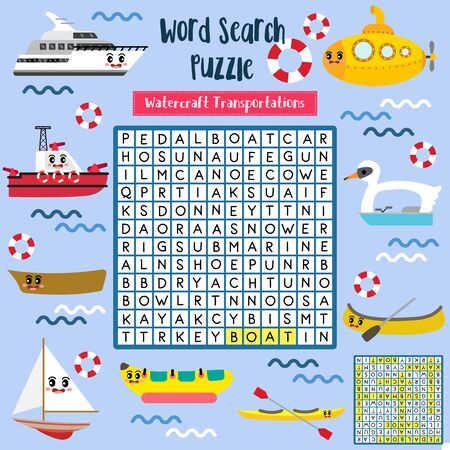 Words search puzzle game of watercraft Transportations for preschool kids activity worksheet colorful printable version. Vector Illustration.