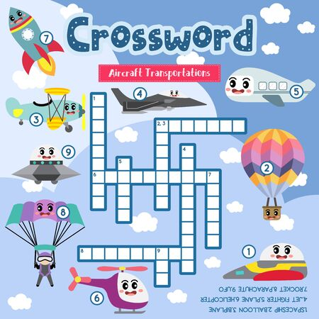 Crosswords puzzle game of Aircraft Transportations for preschool kids activity worksheet colorful printable version. Vector Illustration. Çizim