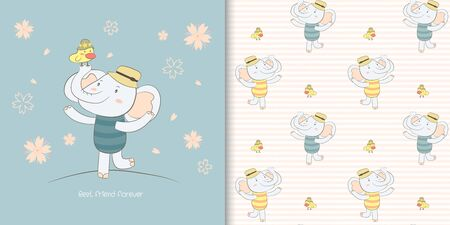 Cute creative kids cartoon elephant with bird  best friend forever card and childish seamless pattern for fabric, textile, wallpaper and wrapping. Hand drawn vector illustration.